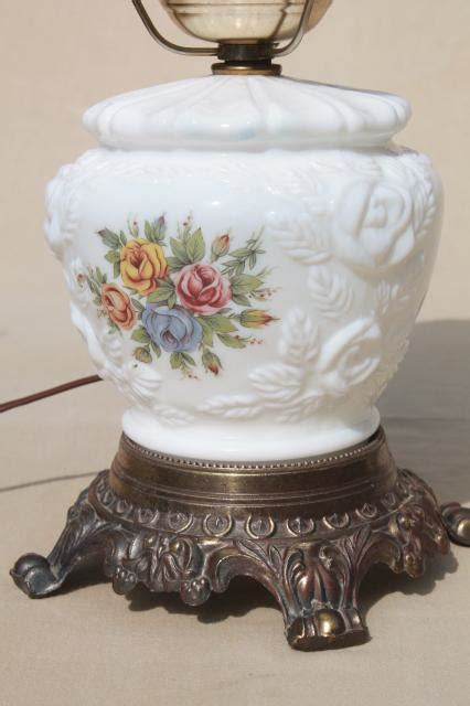 vintage fenton milk glass lamp puffy rose  roses lampshade lighted base