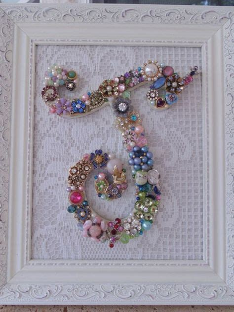 cottage shabby vintage jewelry framed christmas tree initial  letter vintage jewelry