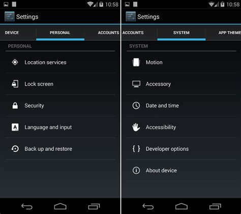 android app settings change android setting app into tabbed menu with biftor