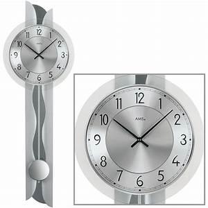 Wanduhr Mit Pendel : ams 7216 quarz wanduhr mit pendel silber mit metalleinlage ~ Watch28wear.com Haus und Dekorationen