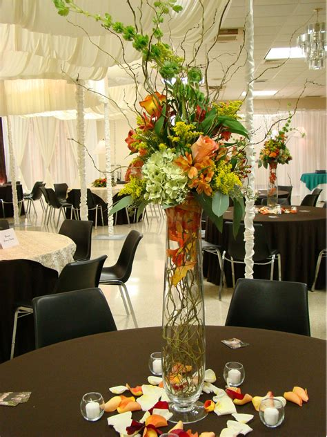 Tall Wedding Centerpieces With Colorful Flowerspng Hi Res