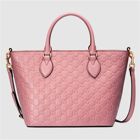 lyst gucci signature leather tote  pink