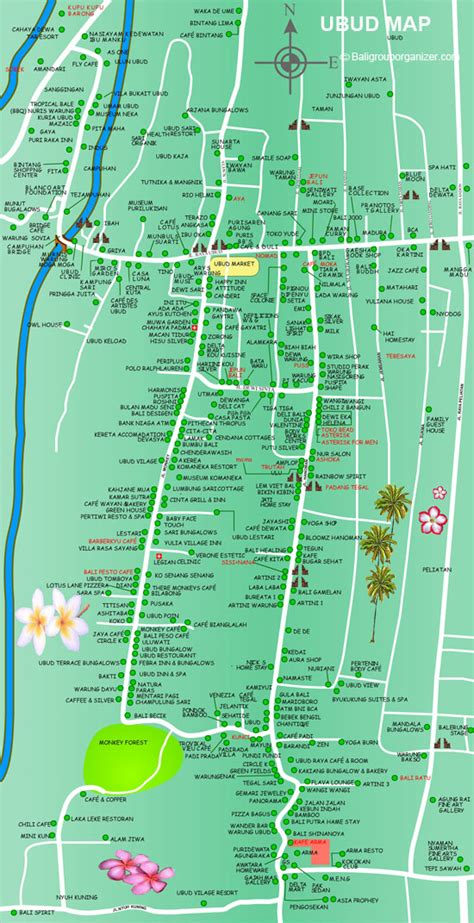 ubud map bali places  stay