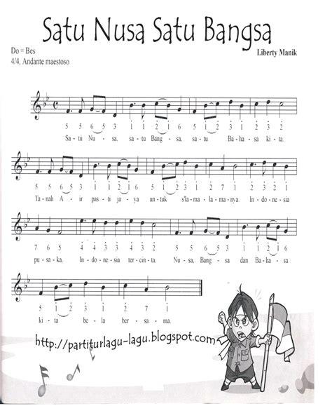 maju tak gentar not angka partitur lagu wajib dan nasional