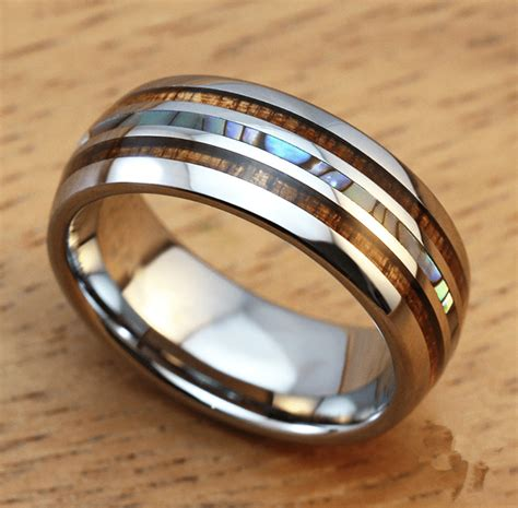 s 8mm titanium wedding ring with pearl shell inlay burnham watches