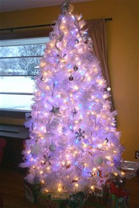 white tree with blue lights