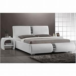 Lit 140 Blanc : lit design blanc vitara 140 cm achat vente lit pas cher couleur et ~ Teatrodelosmanantiales.com Idées de Décoration