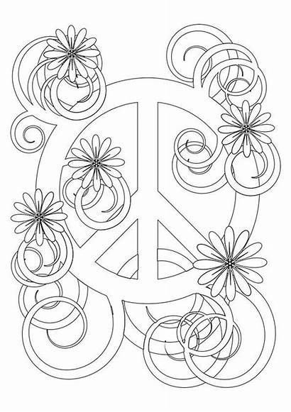 Peace Coloring Pages Sign Printable Adult Flower