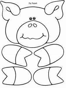 Early literacy mama fitch and chip wolf and pig paper for Pig puppet template