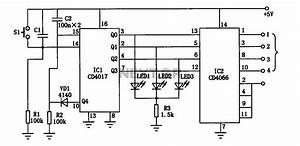 Electronic Cd4017 Cd4066 The Switch Circuit Diagram