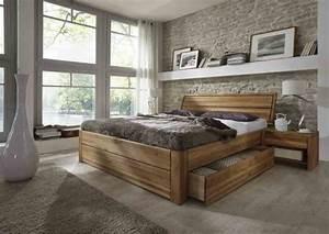 Massivholzbett 140x200 Komforthöhe : schubladenbetten in eiche g nstig massiva ~ Eleganceandgraceweddings.com Haus und Dekorationen