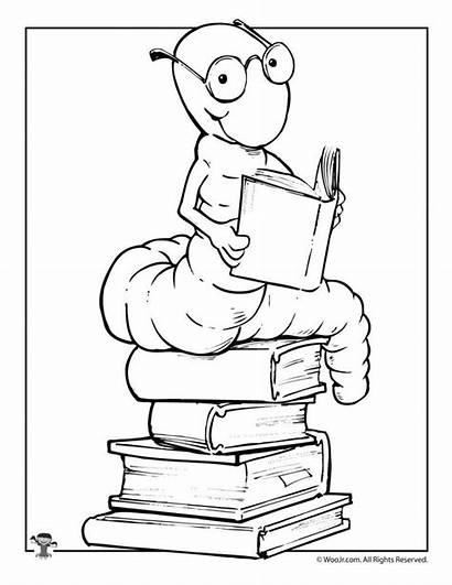 Coloring Library Reading Pages Activities Printable Bookworm