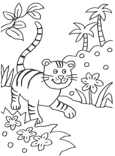 kostenlose malvorlage tiere kleiner tiger im dschungel