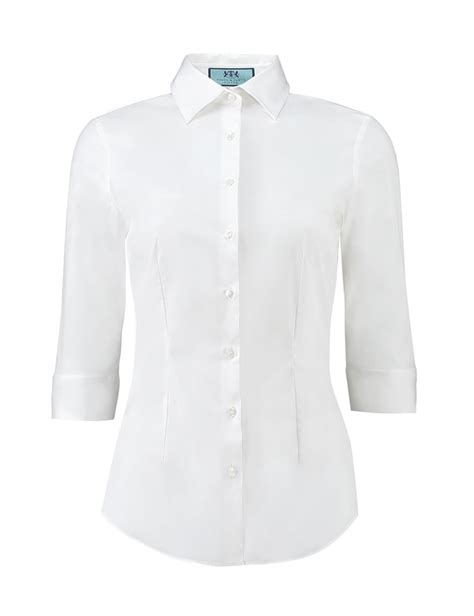 womens white blouses 39 s white fitted 3 quarter sleeve shirt hawes curtis