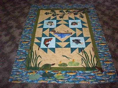 Quilt Quilts Fishing Fish Applique Barb
