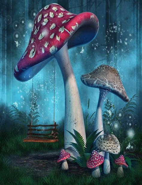 fantasy mushrooms  fairy swing  forest photography