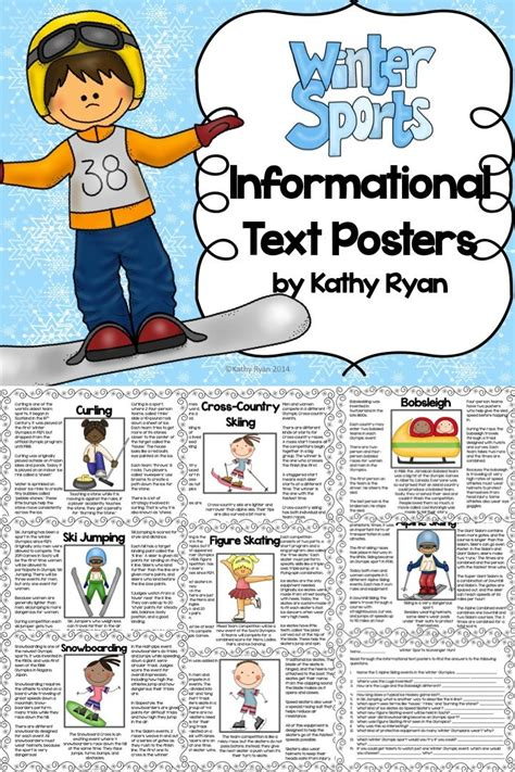 winter sports informational text posters  coloring book