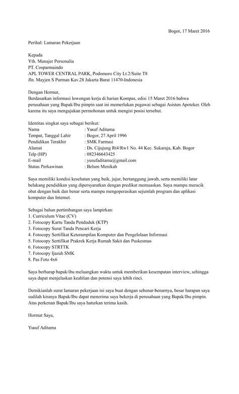 Contoh Surat Lamaran Pekerjaan Ke Rumah Sakit Contoh Seputar Surat