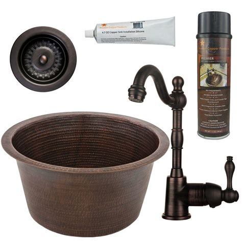 rubbed bronze kitchen sinks premier copper products all in one dual mount copper 17 in 7152