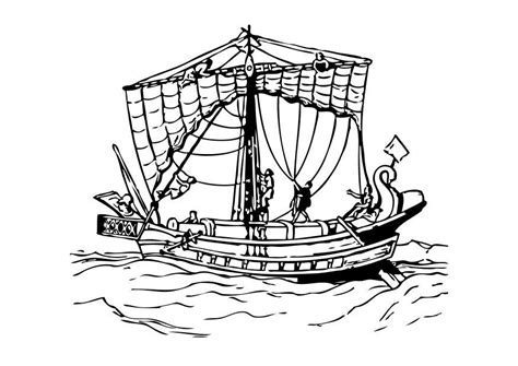 dibujo  colorear barco romano dibujos  imprimir