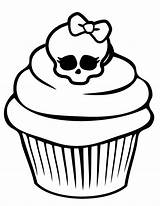 Coloring Monster Cupcake Pages Skull Birthday Printable Cupcakes Skullette Happy Pretty Adult Cake Cup sketch template