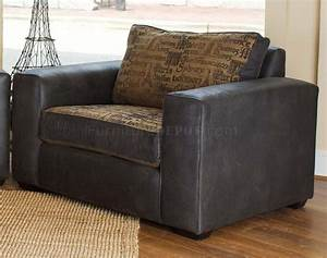 Fabric leather modern living room sofa large chair set for Big living room chairs