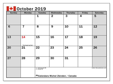 october calendar canada michel zbinden en