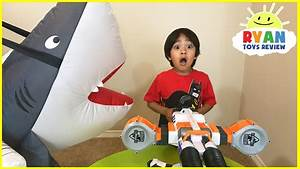 Giant Shark Pretend Play Chasing and Hide and Seek with ...
