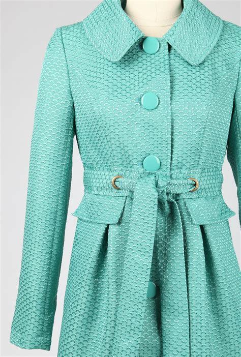 coat hasty departure fan pattern tie waist coat  aqua