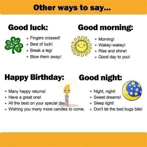 Other Ways To Say  Happy Birthday, Good Night, Good Morning, Good Luck  English Learn Site