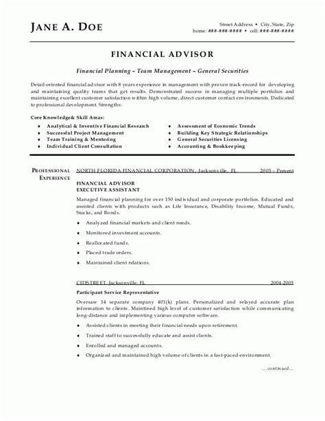 financial advisor resume template sle resumes financial advisor resume