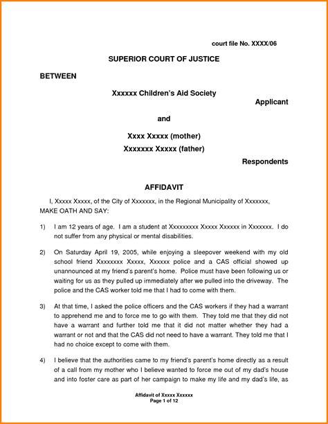 Cover Letter For Affidavit Of Support by 11 Exle Of Affidavit Letter For Immigration Penn