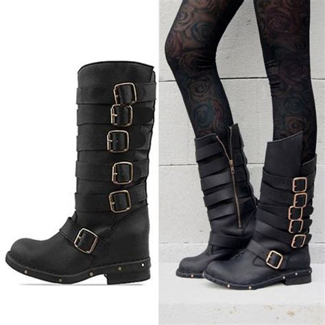 womens biker boots fashion new 2013 fashion jeffrey cbell cowhide vintage buckle
