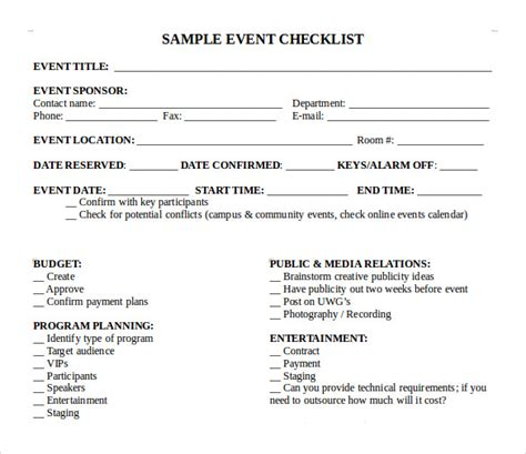 sample event checklist template   documents