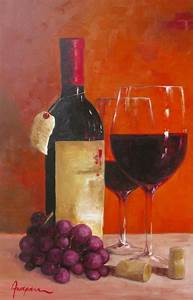 Art canvas Acrylic painting wine bottle wine glass by ...
