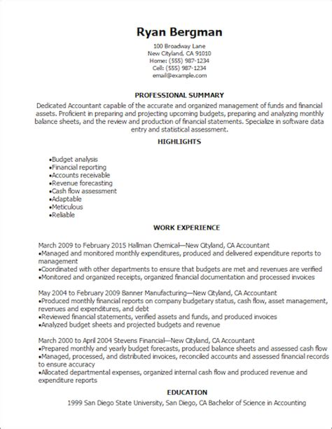Resume Templates For Accounting And Finance by Resume Templates Accounting Finance Resume Template Livecareer