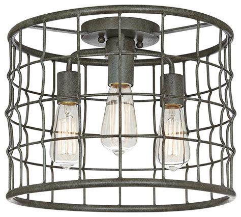 farmhouse flush mount lighting dunmore industrial cage 15 quot wide galvanized ceiling light