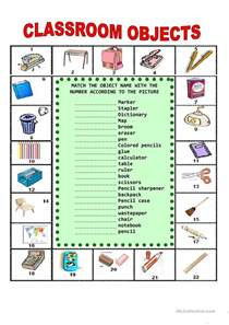 Spanish Classroom Objects Worksheets Printable
