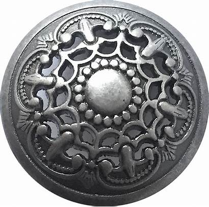 Button Metal Medieval Shank Filigree Gray Buttons
