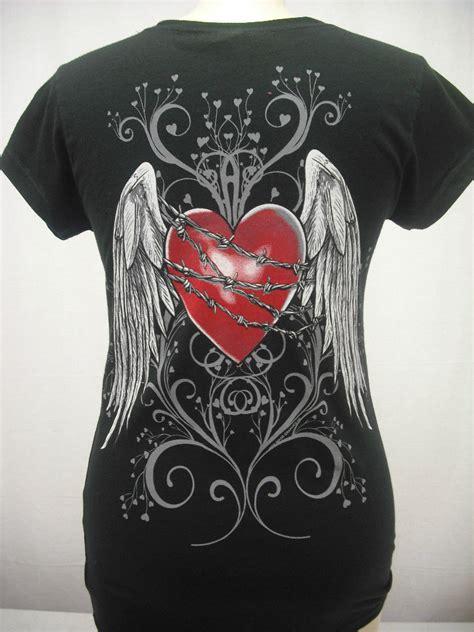 womens barbed wire heart  angel wings  neck shirt ebay