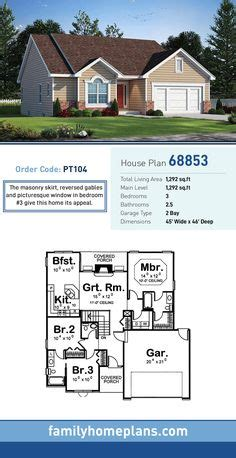 Traditional Style House Plan Number 40402 with 3 Bed 2