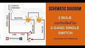 2 Gang Switch Wiring  Actual And Schematic Diagram
