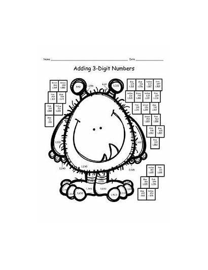 Addition Coloring Regrouping Pages Riddles Code Digit