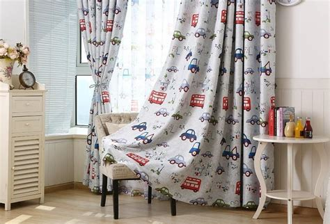 Cartoon Car Printed Blackout Window Sheer Curtains For Kids Boys Living Room Bedding Room New Shower Curtain Smell Geometric Print Window Curtains Bathroom Ideas Ceiling Mounted Double Rods Sugar Skull Bedroom Wrought Iron Cape Town To Match Gray Walls Cafe