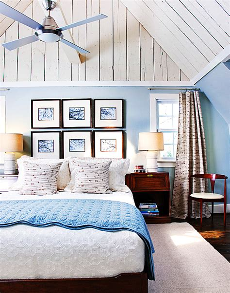 Beautiful Rooms Blue And White by Beautiful Modern Blue And White Bedroom In Attic Decoist