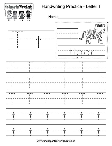 letter t writing practice worksheet free kindergarten english worksheet for kids