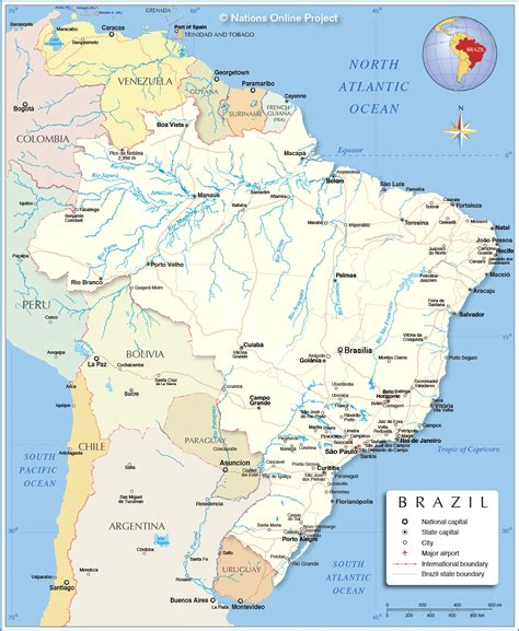 detailed map  brazil nations  project