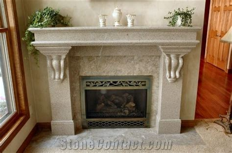 Traditional Fireplace With Corbels Giallo Fantasia Granite