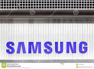 Samsung logo on a wall editorial photography. Image of ...