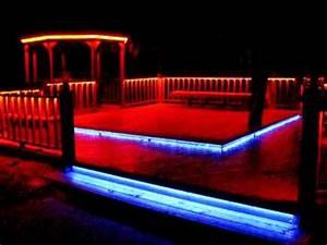 LED RGB Flex Strip Rope Light under railing around deck